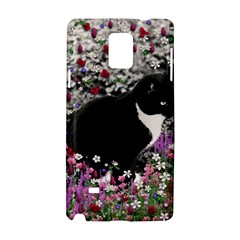 Freckles In Flowers Ii, Black White Tux Cat Samsung Galaxy Note 4 Hardshell Case by DianeClancy