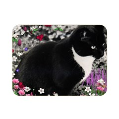 Freckles In Flowers Ii, Black White Tux Cat Double Sided Flano Blanket (mini)  by DianeClancy