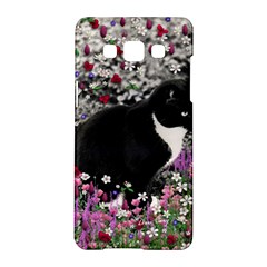 Freckles In Flowers Ii, Black White Tux Cat Samsung Galaxy A5 Hardshell Case  by DianeClancy