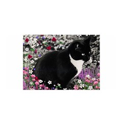 Freckles In Flowers Ii, Black White Tux Cat Satin Wrap by DianeClancy