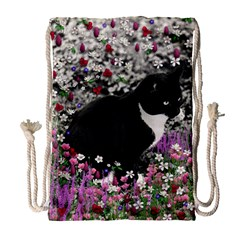 Freckles In Flowers Ii, Black White Tux Cat Drawstring Bag (large) by DianeClancy