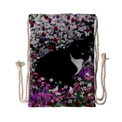 Freckles In Flowers Ii, Black White Tux Cat Drawstring Bag (small) by DianeClancy