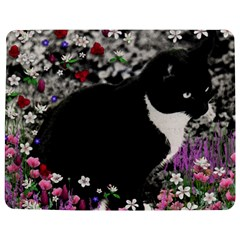 Freckles In Flowers Ii, Black White Tux Cat Jigsaw Puzzle Photo Stand (rectangular)