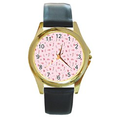 Cute Pink Birds And Flowers Pattern Round Gold Metal Watch