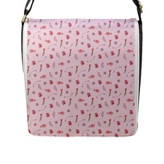 Cute Pink Birds And Flowers Pattern Flap Messenger Bag (l)  by TastefulDesigns