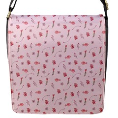 Cute Pink Birds And Flowers Pattern Flap Messenger Bag (s) by TastefulDesigns