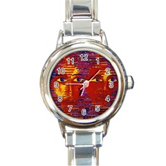 Conundrum Iii, Abstract Purple & Orange Goddess Round Italian Charm Watch by DianeClancy