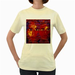 Conundrum Iii, Abstract Purple & Orange Goddess Women s Yellow T-shirt by DianeClancy