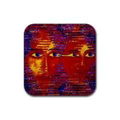 Conundrum Iii, Abstract Purple & Orange Goddess Rubber Coaster (square)  by DianeClancy