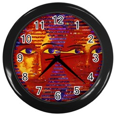Conundrum Iii, Abstract Purple & Orange Goddess Wall Clocks (black) by DianeClancy