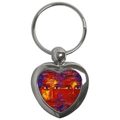 Conundrum Iii, Abstract Purple & Orange Goddess Key Chains (heart)  by DianeClancy