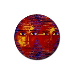 Conundrum Iii, Abstract Purple & Orange Goddess Rubber Round Coaster (4 Pack)  by DianeClancy