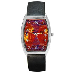 Conundrum Iii, Abstract Purple & Orange Goddess Barrel Style Metal Watch by DianeClancy