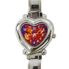 Conundrum Iii, Abstract Purple & Orange Goddess Heart Italian Charm Watch by DianeClancy