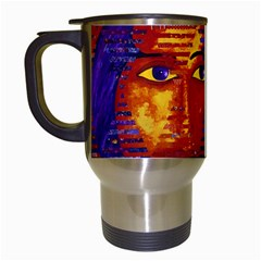 Conundrum Iii, Abstract Purple & Orange Goddess Travel Mugs (white) by DianeClancy