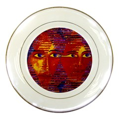 Conundrum Iii, Abstract Purple & Orange Goddess Porcelain Plates by DianeClancy