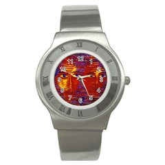 Conundrum Iii, Abstract Purple & Orange Goddess Stainless Steel Watch by DianeClancy