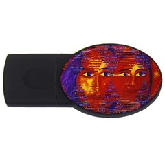 Conundrum Iii, Abstract Purple & Orange Goddess Usb Flash Drive Oval (4 Gb)  by DianeClancy