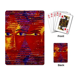 Conundrum Iii, Abstract Purple & Orange Goddess Playing Card by DianeClancy