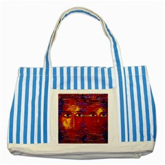 Conundrum Iii, Abstract Purple & Orange Goddess Striped Blue Tote Bag by DianeClancy