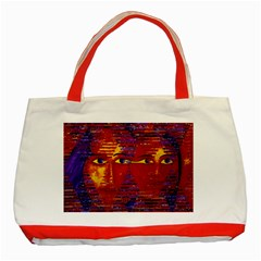 Conundrum Iii, Abstract Purple & Orange Goddess Classic Tote Bag (red) by DianeClancy