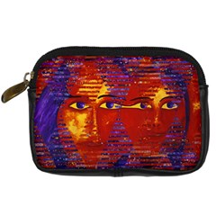 Conundrum Iii, Abstract Purple & Orange Goddess Digital Camera Cases by DianeClancy