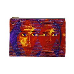 Conundrum Iii, Abstract Purple & Orange Goddess Cosmetic Bag (large)  by DianeClancy