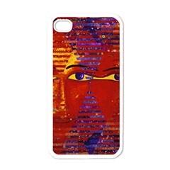 Conundrum Iii, Abstract Purple & Orange Goddess Apple Iphone 4 Case (white) by DianeClancy