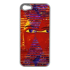Conundrum Iii, Abstract Purple & Orange Goddess Apple Iphone 5 Case (silver) by DianeClancy