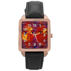 Conundrum Iii, Abstract Purple & Orange Goddess Rose Gold Leather Watch  by DianeClancy