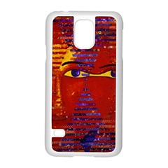 Conundrum Iii, Abstract Purple & Orange Goddess Samsung Galaxy S5 Case (white) by DianeClancy