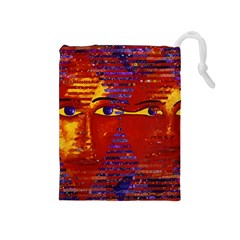 Conundrum Iii, Abstract Purple & Orange Goddess Drawstring Pouches (medium)  by DianeClancy