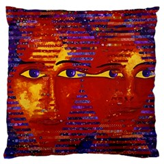 Conundrum Iii, Abstract Purple & Orange Goddess Large Flano Cushion Case (one Side) by DianeClancy