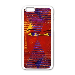 Conundrum Iii, Abstract Purple & Orange Goddess Apple Iphone 6/6s White Enamel Case by DianeClancy