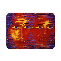 Conundrum Iii, Abstract Purple & Orange Goddess Double Sided Flano Blanket (mini)  by DianeClancy