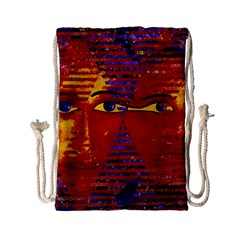 Conundrum Iii, Abstract Purple & Orange Goddess Drawstring Bag (small) by DianeClancy