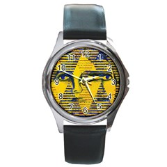 Conundrum Ii, Abstract Golden & Sapphire Goddess Round Metal Watch by DianeClancy