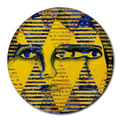 Conundrum Ii, Abstract Golden & Sapphire Goddess Round Mousepads by DianeClancy