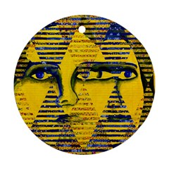 Conundrum Ii, Abstract Golden & Sapphire Goddess Ornament (round)  by DianeClancy