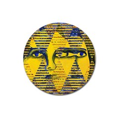 Conundrum Ii, Abstract Golden & Sapphire Goddess Magnet 3  (round) by DianeClancy