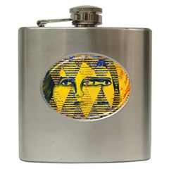 Conundrum Ii, Abstract Golden & Sapphire Goddess Hip Flask (6 Oz) by DianeClancy