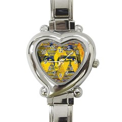Conundrum Ii, Abstract Golden & Sapphire Goddess Heart Italian Charm Watch by DianeClancy