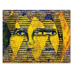 Conundrum Ii, Abstract Golden & Sapphire Goddess Rectangular Jigsaw Puzzl by DianeClancy