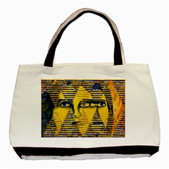 Conundrum Ii, Abstract Golden & Sapphire Goddess Basic Tote Bag by DianeClancy