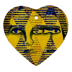 Conundrum Ii, Abstract Golden & Sapphire Goddess Heart Ornament (2 Sides) by DianeClancy