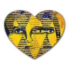 Conundrum Ii, Abstract Golden & Sapphire Goddess Heart Mousepads