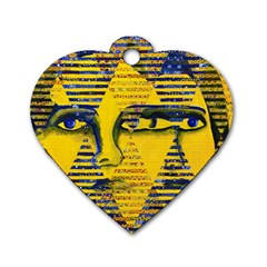 Conundrum Ii, Abstract Golden & Sapphire Goddess Dog Tag Heart (two Sides) by DianeClancy
