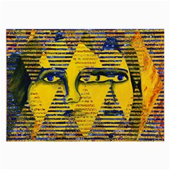 Conundrum Ii, Abstract Golden & Sapphire Goddess Large Glasses Cloth (2 Side) by DianeClancy