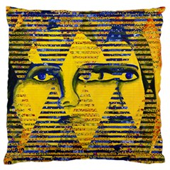 Conundrum Ii, Abstract Golden & Sapphire Goddess Large Cushion Case (two Sides) by DianeClancy