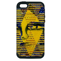 Conundrum Ii, Abstract Golden & Sapphire Goddess Apple Iphone 5 Hardshell Case (pc+silicone) by DianeClancy